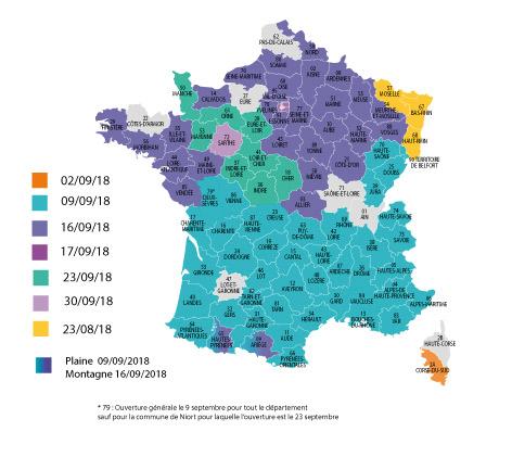 Dates d'ouverture de la chasse 2018-2019 départements par départements
