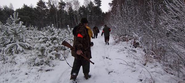 Chasseurs en battue sous la neige lors d'un voyage de chasse