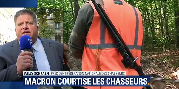 Willy Schraen reçut à l'Elysée avec Emmanuel Macron et Nicolas Hulot
